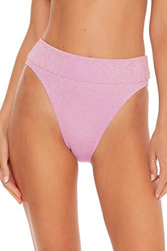 ISABELLA ROSE Women's Metallic High Leg Banded High Waist Bikini Bottom Rose Quartz L