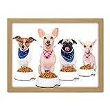 Pug Chihuahua Jack Russell Dog Dinner Photo Artwork Framed Wall Art Print 18X24 Inch Fotografía Pared