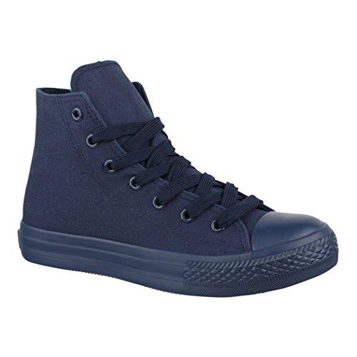Elara Unisex Sneaker Sportschuhe für Herren Damen High Top Turnschuh Textil Schuhe ZY9031-014-Allblue-38