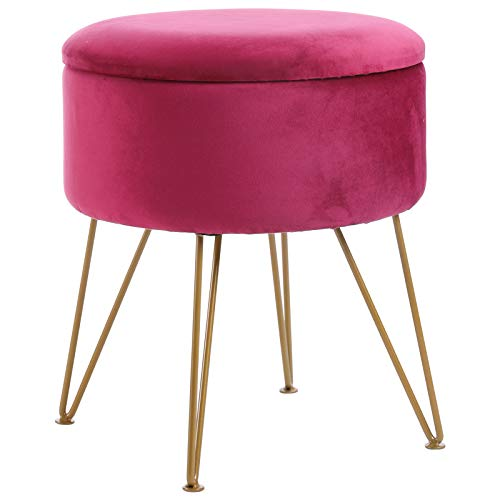 IBUYKE Fußhocker Samt Runde Ottoman Pouffe Hocker Schminktisch Hocker Metallbeine Abnehmbare Abdeckung, für Zuhause Wohnzimmer Umkleidekabine Schlafzimmer Büro, Rose Red LG-001