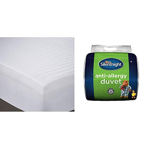 Silentnight Anti Allergy Mattress Protector Plus, White, Double with Silentnight Anti-Allergy 10.5 Tog Duvet, Double