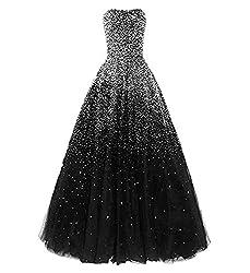 Black Long Dress with Rhinestones