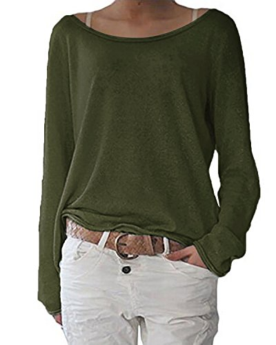 ZANZEA Mujer Camisetas Holgada Cardigan Manga Larga Suelta Blusa Jersey Pullover Casual Tops Verde Militar M