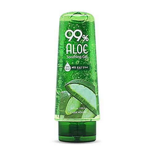 ETUDE HOUSE 99% Aloe Soothing Gel 250ml   Korean Skin Care   5-in-1 formula: Ultra-moisturizer, eye-pack, After-shave effect, Shooting & Cooling gel (After-sun Effect)