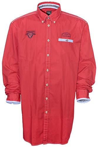 Kitaro Hemd Freizeithemd Shirt Herren Langarm Baumwolle Button Down Lang Tall, Farbe:rot, Herrengrößen:XXT
