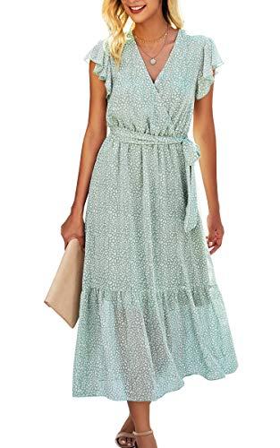Spec4Y Maxikleid Damen Blumen Lang Kleider Kurzarm V-Ausschnitt Wickelkleid Rüschen Sommerkleider mit Gürtel 2121 Hellgrün Small