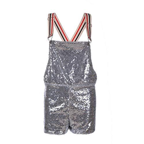 Damen-Latzhose mit Pailletten, glänzende Hotpants für Party, Kostümpartys, Club, Tanz Gr. 34-38, silber