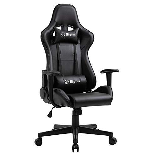 Sigtua, Gaming Stuhl Computerstuhl Höhenverstellbarer Armlehnen PC Stuhl Gamer Stuhl Chefsessel Ergonomischer Drehstuhl Schreibtischstuhl mit hohe Rückenlehne Kopfstütze und Lordosenstütze, Schwarz