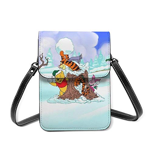 XCNGG Winnie Pooh Small Crossbody Coin Purse Phone Purse Mini Cell Phone Pouch Leather Smartphone Bags Purse,With Removable Shoulder Strap,Shoulder Bag For Women Girls