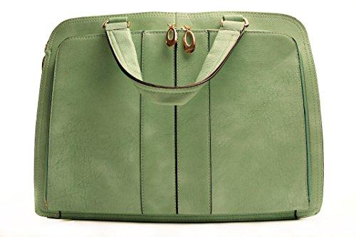 Ravedoll Borsa a Bauletto Verde Tiffany - Borsa a Mano in Ecopelle Color Verde Tiffani.