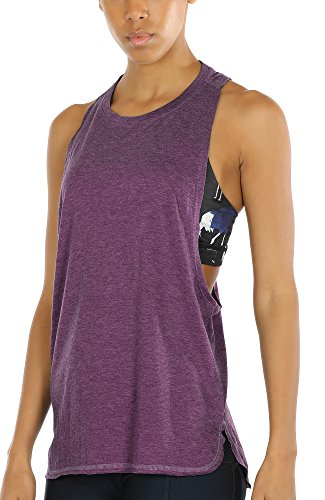 icyzone Workout Tank Tops for Women - Running Muscle Tank Sport Exercise Gym Yoga Tops Athletic Shirts (S, Grape)