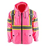 Thin windproof raincoat Pink blazer Safety & Protective Jacket, ANSI Class 3 Waterproof Construction with 100% polyester taffeta lining Work Wear (M, Without Padding)