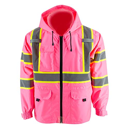 Thin Windproof Raincoat Pink Blazer Safety & Protective Jacket, ANSI Class 3 Waterproof Construction with 100% Polyester Taffeta Lining Work Wear (3XL,Without Padding)