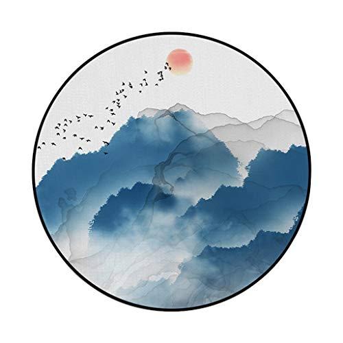 SIRIGOGO 2019 - Alfombra Redonda Impermeable Antideslizante para Suelo (60 cm de diámetro), diseño de montaña, Color Azul, D