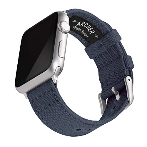 Archer Watch Straps - Canvas Uhrenarmband für Apple Watch (Marineblau, Silber, 42/44mm)
