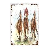 TARTINY Letreros de metal,Pintura de acuarela Carrera de caballos Equitación Deporte Jinetes Competición Recreación Derby Apuesta en pista, Pintura de hierro de estaño