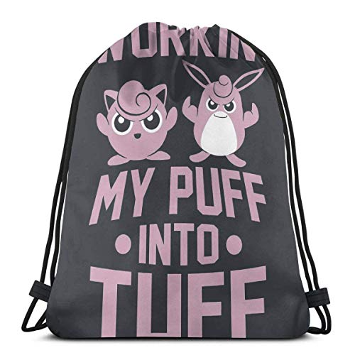 NotApplicable Drawstring Backpack Workin' My Puff Into Tuff Gifts Print Drawstring Backpack Cinch Bags Outdoor Sports Hiking Durable Lightweight Casual Women Sports Gym Bag Men Casual Birthday