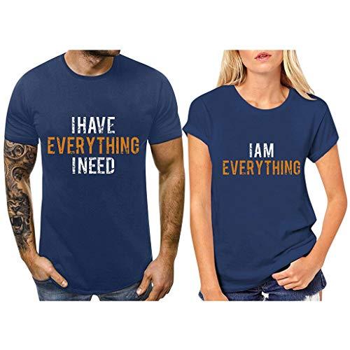 Camiseta día de San Valentín de Mujer y Hombre,ZODOF Camisetas Mujer Verano t-Shirt Amante Manga Corta Cuello Redondo Carta de Amor Impresa Camisetas Tops Blusas Talla Grande Camisas