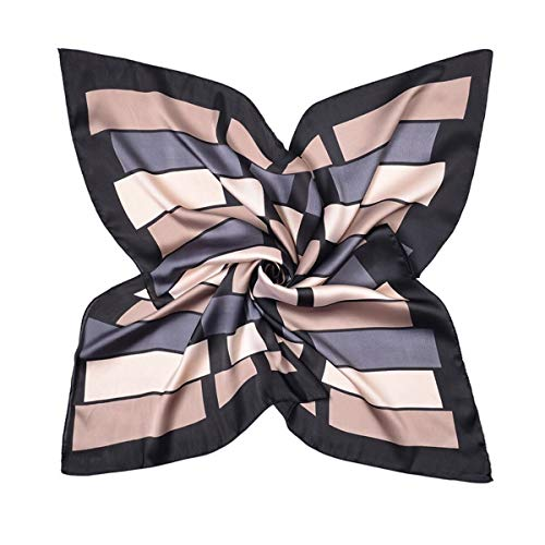 HIDOUYAL HIDOUYAL 70x70cm Bandana Patchwork Schal Halstuch Kopftuch Tasche Dekoration Scarf mit Stern Muster (Gitter-Schwarz)