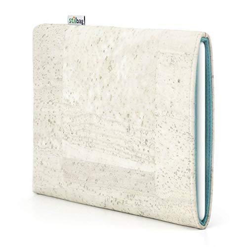 stilbag eReader Hülle VIGO für Icarus Illumina XL | eBook Reader Tasche - Made in Germany | Kork weiß, Wollfilz hellblau