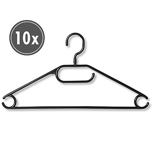 Kesper 16810 Kunststoff-Kleiderbügel, 10-er Pack, Breite: 40 cm, schwarz