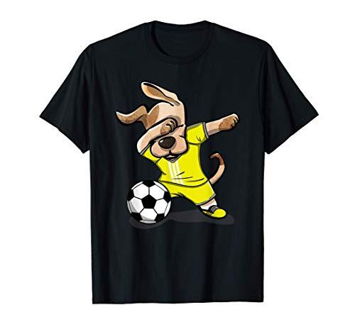 Tupfender HundDabbing Dog Football On Yellow Sport Jersey T-Shirt