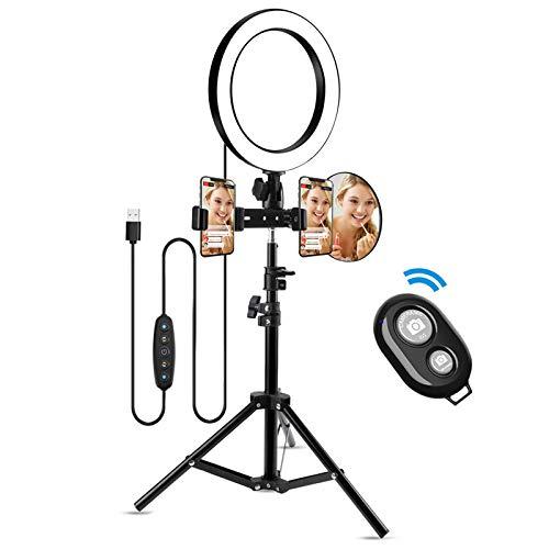 10'Selfie Ring Light con treppiede e 2 Porta telefono, Morpilot luce ad Anello LED dimmerabile 5 colori,per trucco/fotografia/videoYouTube/Vlog/TIK Tok/Live,compatibile con iPhone e Android