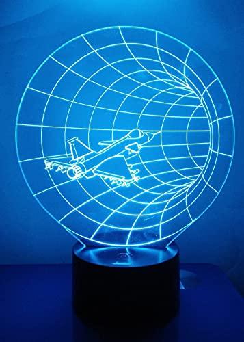Airplain 3D Luz de noche Lámpara de ilusión LED Lámpara de mesita de noche Time Warp, con base plana de acrílico y ABS y cargador USB como decoración del hogar, 16 colores