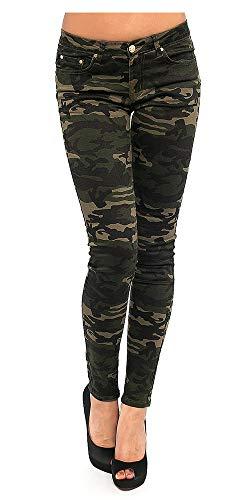 FASHION YOU WANT Damen Jeans Hose Skinny Röhre Camouflage Damenjeans Army Hüftjeans Hüfthose Stretch (Camouflage grün, 38)
