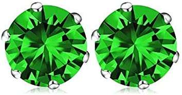 GM Jewelry Unisex/Women's Prong Set Cubic Zirconia Stud Gold Plated Stainless Steel Earrings (8mm) - White/Green