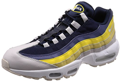 Nike Men's Air Max 95 Essential Gymnastics Shoes, Grey (White/Vast Grey/Lemon Wash/Tour Yellow 107), 11 UK