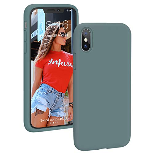 ProBien Hülle für iPhone X/iPhone XS, Liquid Silikon Handyhülle mit Samtiger Microfaserinnenfutter,Anti-Fingerabdruck Schutzhülle Kratzfest Bumper Case Cover für iPhone X/iPhone XS-Piniengrün