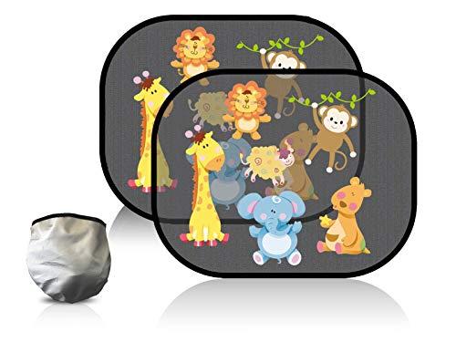 Selbsthaftende Auto Sonnenblenden,SenPuSi Sonnenblenden für Kinder Baby mit UV Schutz 55+ Selbsthaftende Autofenster Sonnenblende Schützt Baby und Kinder vor Sonne und spendet Schatten 2 Stück (Zoo)
