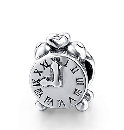 EvesCity Bolenvi - Reloj despertador de plata de ley 925 con abalorios para pulseras y collares