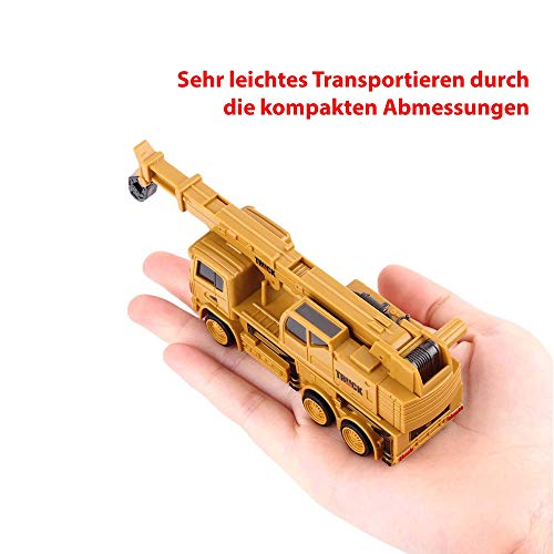 HSP Himoto RC Ferngesteuerter Mini Kran LKW Crane Truck Baustellen-Fahrzeug, 1:64 Maßstab Modell, eingeb. Akku, Komplett-Set RTR