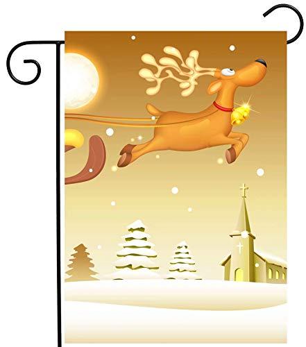 Weihnachtsmann im Schlitten, saisonaler Winter/Schnee/Mond, saisonaler Gartenflaggenständer, Banner, Flaggenmast für Flaggen bis zu 45,7 x 31,8 cm, für den Außenbereich, Garten, Rasen