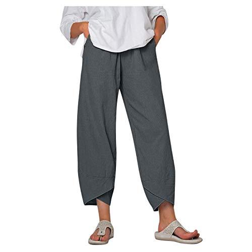 XIAOQI Pantalones de Lino para Mujer Pantalones de Jogging de Verano de Gran tamaño, Color sólido/Pantalones de Entrenamiento Holgados con Bolsillos, Pantalones Holgados de Mujer con elástico,