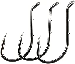 AGOOL 50-150 pcs Fishing Jig Hooks Extra Sharp Octopus Baitholder Hooks Black High Carbon Steel Circle Hooks for Freshwater Boat Fishing - Size: 8-6/0