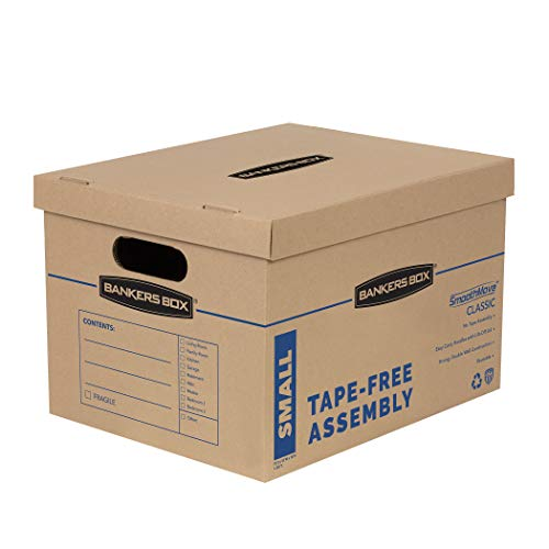 Bankers Box SmoothMove Classic Moving Boxes, Tape-Free Assembly, Easy Carry Handles, Small, 15 x 12 x 10 Inches, 10 Pack (7714901), Brown