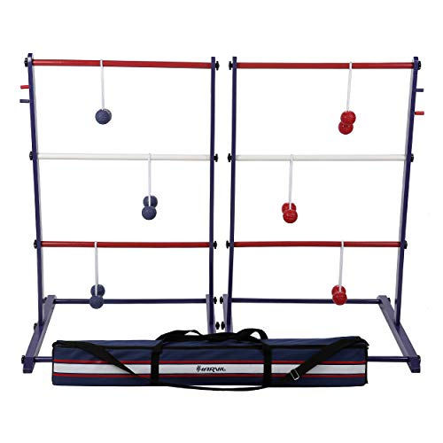 Harvil Wooden Ladder Ball Game Set. Includes Soft Bolas, 2 Targets, and Carrying Case.