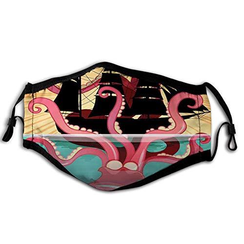 Comfortabele Winddichte Gezicht cover, Koraal Zee Monster Zinkende De Boot Retro Mythen Ocean Folk Stories Geïnspireerd Kunstwerk, Gedrukte Gezichtsdecoraties voor man en vrouw