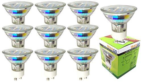 Trango 10er Pack 3 Watt LED Leuchtmittel 10TGGU1025 I GU10 Lampenfassung I warmweiß leuchtende Glühlampen I ersetzen 35 W Halogen Lampen I Reflektorform I 230 V
