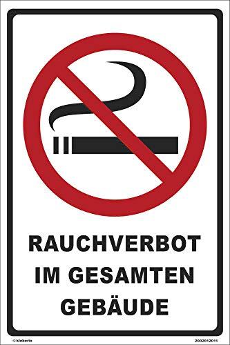 Kleberio® Verbots Schild 30 x 20 cm - Rauchverbot im gesamten Gebäude - stabile Aluminiumverbundplatte