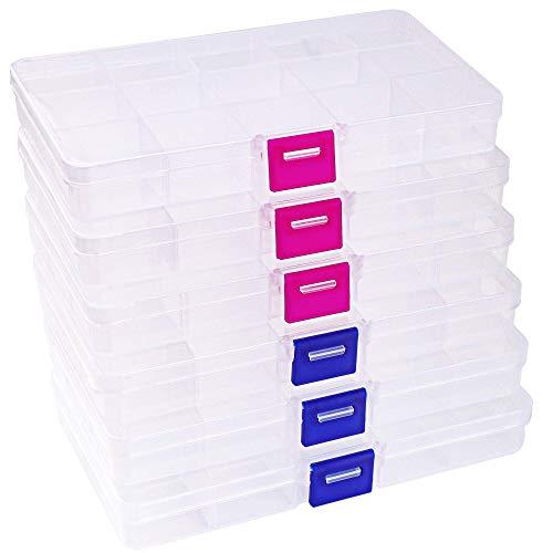 Recet Schmuckschatulle, 6 Stück, Schmuck-Aufbewahrungsbox, Perlen, Ohrringe, Organizer, kleine Kunststoff-Box mit 15 Fächern und verstellbaren Trennwänden