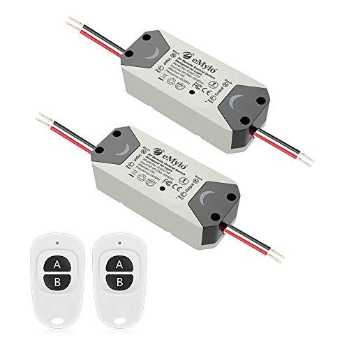 eMylo Smart Wireless Telecomando Interruttore 220V Relè 1000W 1-Channel Relè RF Interruttore 90-250V Automazione domestica 433Mhz con due trasmettitori 2 pacco