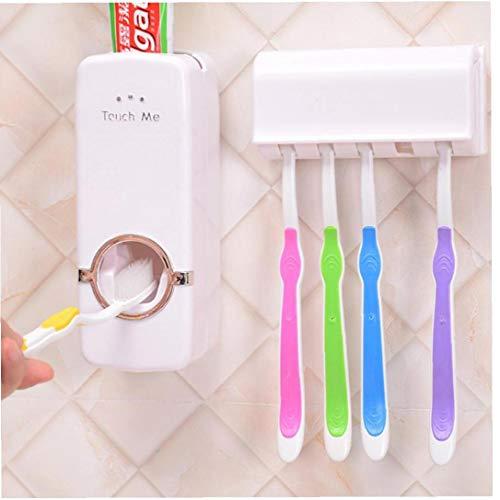Lankater Dispensador automático de Pasta de Dientes montado en la Pared 5 Soporte para Cepillo de Dientes Gadgets de Crema Dental