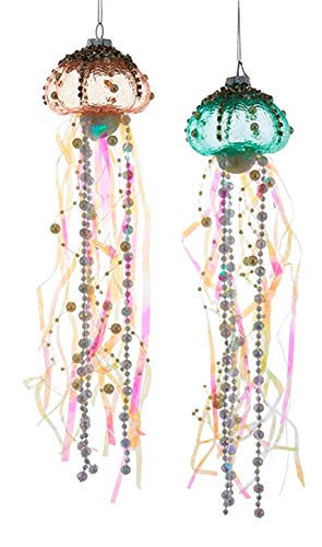 Coastal Beaded Jellyfish Glass and Ribbons Christmas Holiday Ornaments Set of 2