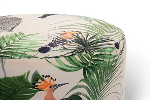 LIFA LIVING Runder Samt Pouf TOEKAN mit goldenem Metallrand, Luxuriöser Sitzhocker 38x38cm, Zylinderförmiger Pouf Hocker mit exotischem Dschungel Muster