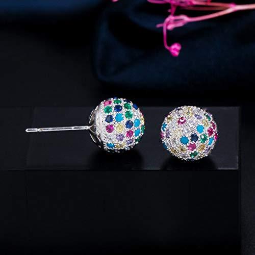 Micro Pave Cubic Zirconia Bead Round Colorful Rainbow Ball Stud Pendientes para mujer Joyeríacolor plateado