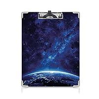 クリップボード A4 宇宙 子供の贈り物バインダー 深宇宙からの夜の地球 A4 タテ型 クリップファイル ワードパッド ファイルバインダー 携帯便利天の川 星空の黄道